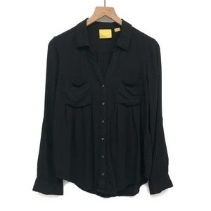 Anthro Maeve Black Button Up Blouse - Size Small
